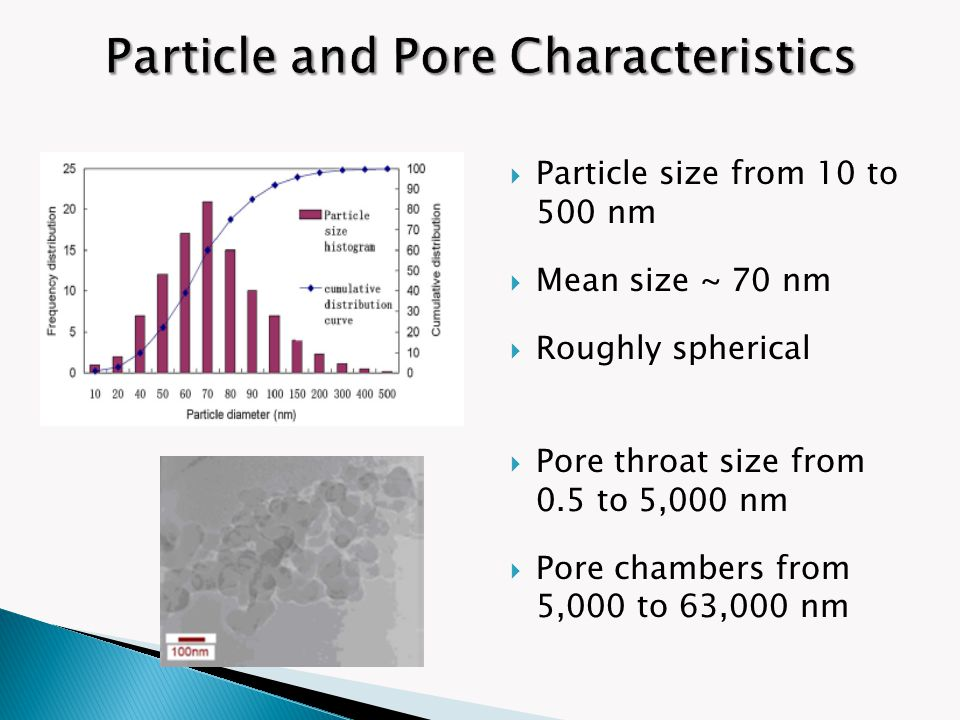  Particle size from 10 to 500 nm  Mean size ~ 70 nm  Roughly spherical  Pore throat size from 0.5 to 5,000 nm  Pore chambers from 5,000 to 63,000