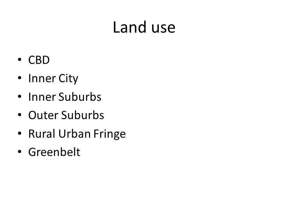 Land use CBD Inner City Inner Suburbs Outer Suburbs Rural Urban Fringe Greenbelt