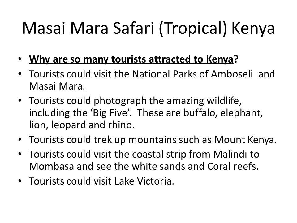 Masai Mara Safari (Tropical) Kenya Why are so many tourists attracted to Kenya? Tourists could visit the National Parks of Amboseli and Masai Mara. To