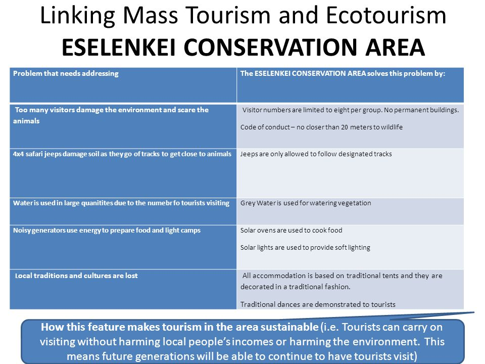Linking Mass Tourism and Ecotourism ESELENKEI CONSERVATION AREA Problem that needs addressingThe ESELENKEI CONSERVATION AREA solves this problem by: T