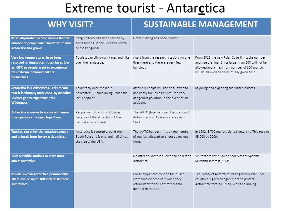 WHY VISIT?SUSTAINABLE MANAGEMENT More disposable income means that the number of people who can afford to visit Antarctica has grown Penguin fever has