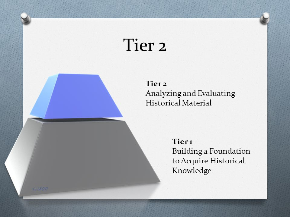 Tier 2 Tier 1 Building a Foundation to Acquire Historical Knowledge Tier 2 Analyzing and Evaluating Historical Material (c)2011