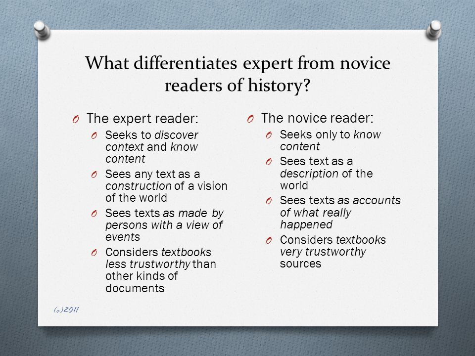 What differentiates expert from novice readers of history.