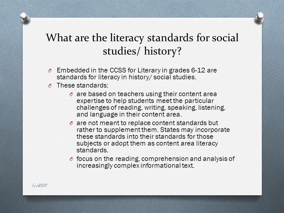 What are the literacy standards for social studies/ history.