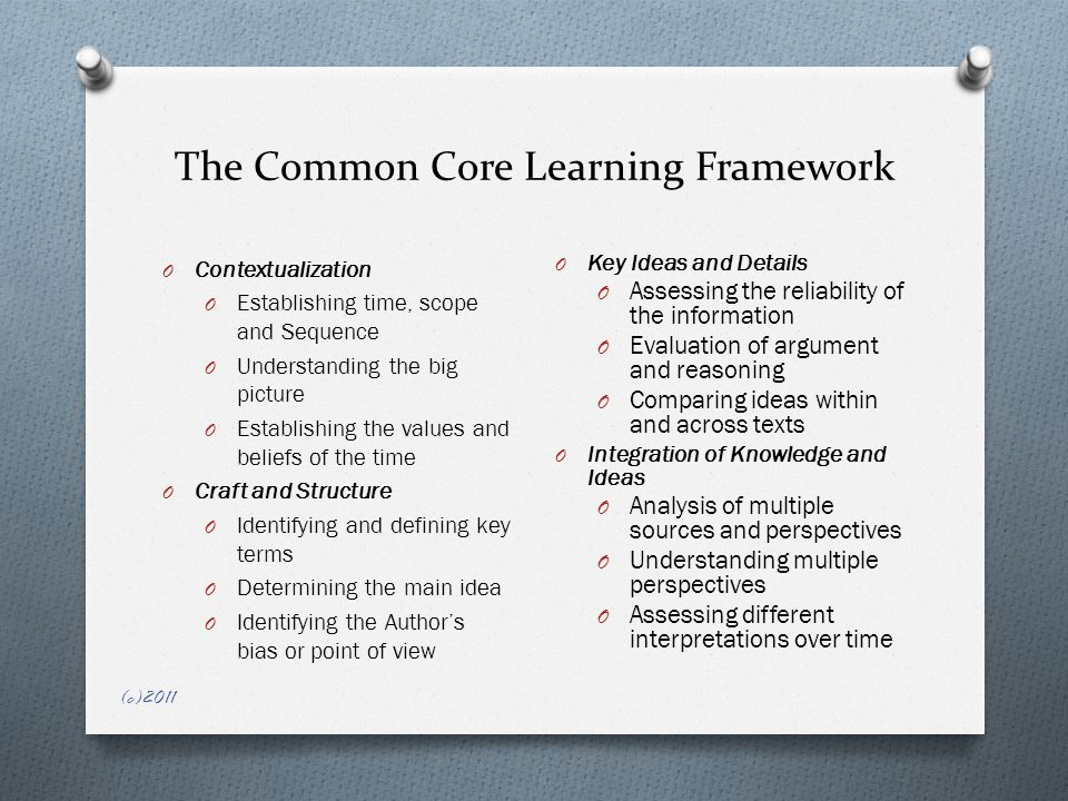 The Common Core Learning Framework O Contextualization O Establishing time, scope and Sequence O Understanding the big picture O Establishing the values and beliefs of the time O Craft and Structure O Identifying and defining key terms O Determining the main idea O Identifying the Author's bias or point of view O Key Ideas and Details O Assessing the reliability of the information O Evaluation of argument and reasoning O Comparing ideas within and across texts O Integration of Knowledge and Ideas O Analysis of multiple sources and perspectives O Understanding multiple perspectives O Assessing different interpretations over time (c)2011