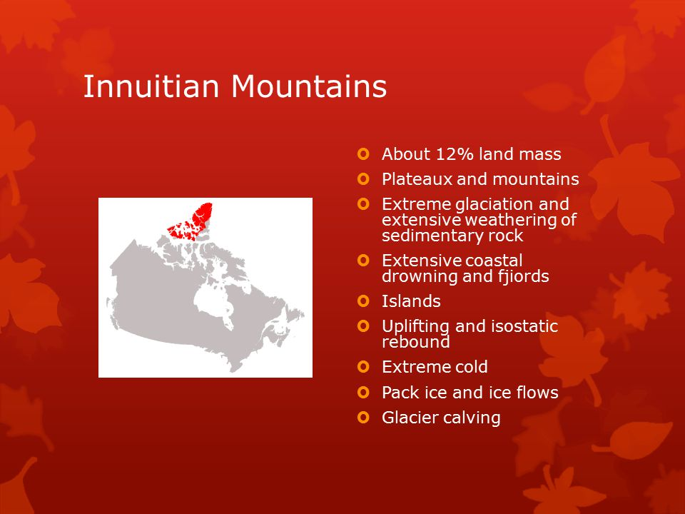 Innuitian Mountains  About 12% land mass  Plateaux and mountains  Extreme glaciation and extensive weathering of sedimentary rock  Extensive coast