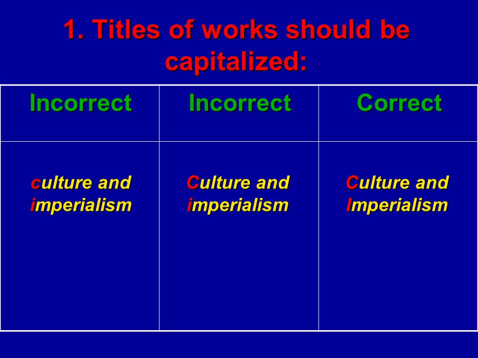 1. Titles of works should be capitalized: CorrectIncorrectIncorrect Culture and Imperialism Culture and imperialism culture and imperialism
