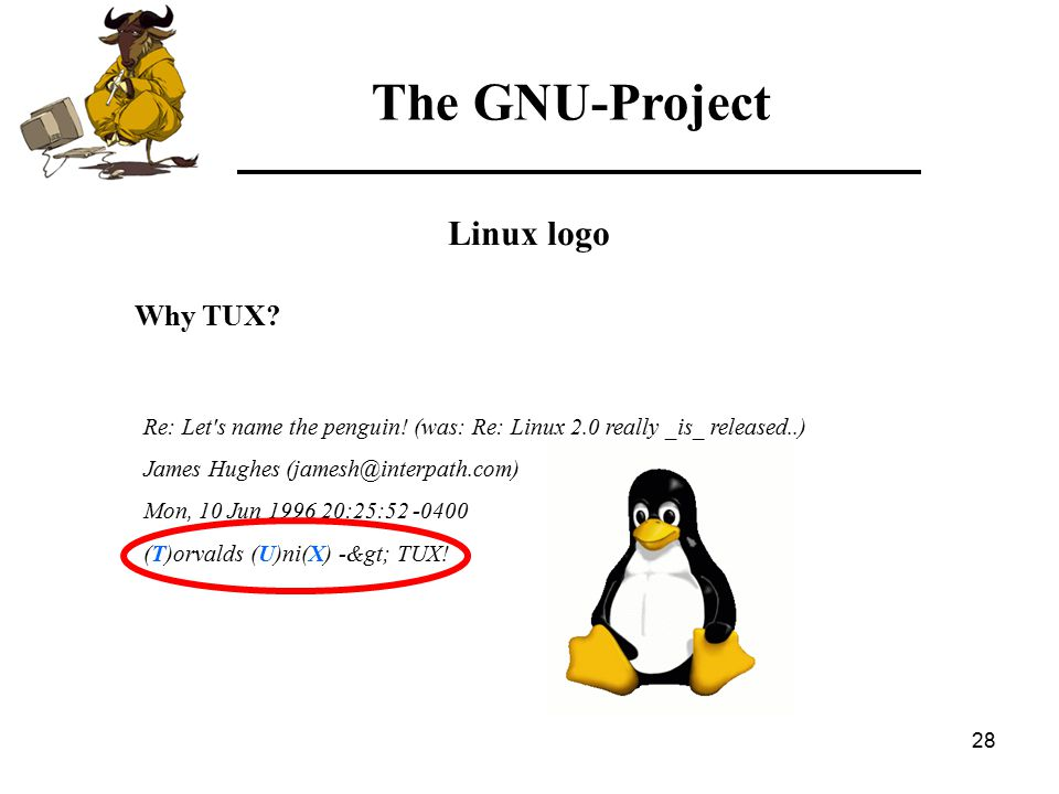 28 The GNU-Project Linux logo Why TUX. Re: Let s name the penguin.