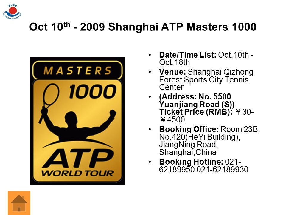 Oct 10 th - 2009 Shanghai ATP Masters 1000 Date/Time List: Oct.10th - Oct.18th Venue: Shanghai Qizhong Forest Sports City Tennis Center (Address: No.