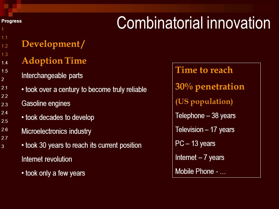 Combinatorial innovation Progress 1 1.1 1.2 1.3 1.4 1.5 2 2.1 2.2 2.3 2.4 2.5 2.6 2.7 3 Development / Adoption Time Interchangeable parts took over a century to become truly reliable Gasoline engines took decades to develop Microelectronics industry took 30 years to reach its current position Internet revolution took only a few years Time to reach 30% penetration (US population) Telephone – 38 years Television – 17 years PC – 13 years Internet – 7 years Mobile Phone - …