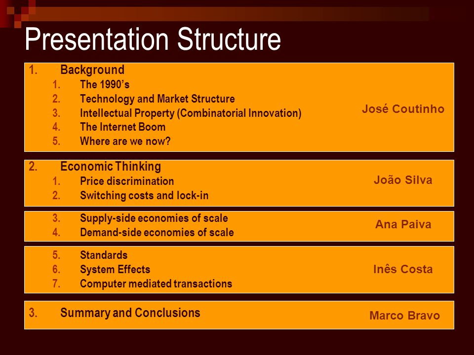 Presentation Structure 1.Background 1.The 1990's 2.Technology and Market Structure 3.Intellectual Property (Combinatorial Innovation) 4.The Internet Boom 5.Where are we now.