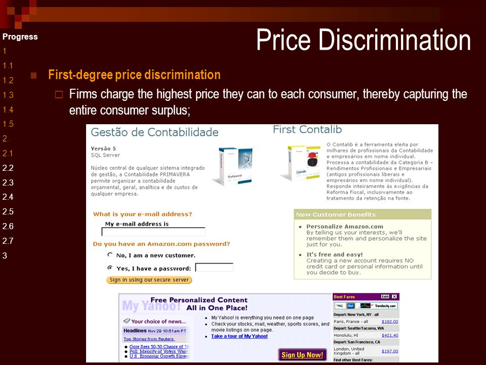 First-degree price discrimination  Firms charge the highest price they can to each consumer, thereby capturing the entire consumer surplus; Progress 1 1.1 1.2 1.3 1.4 1.5 2.