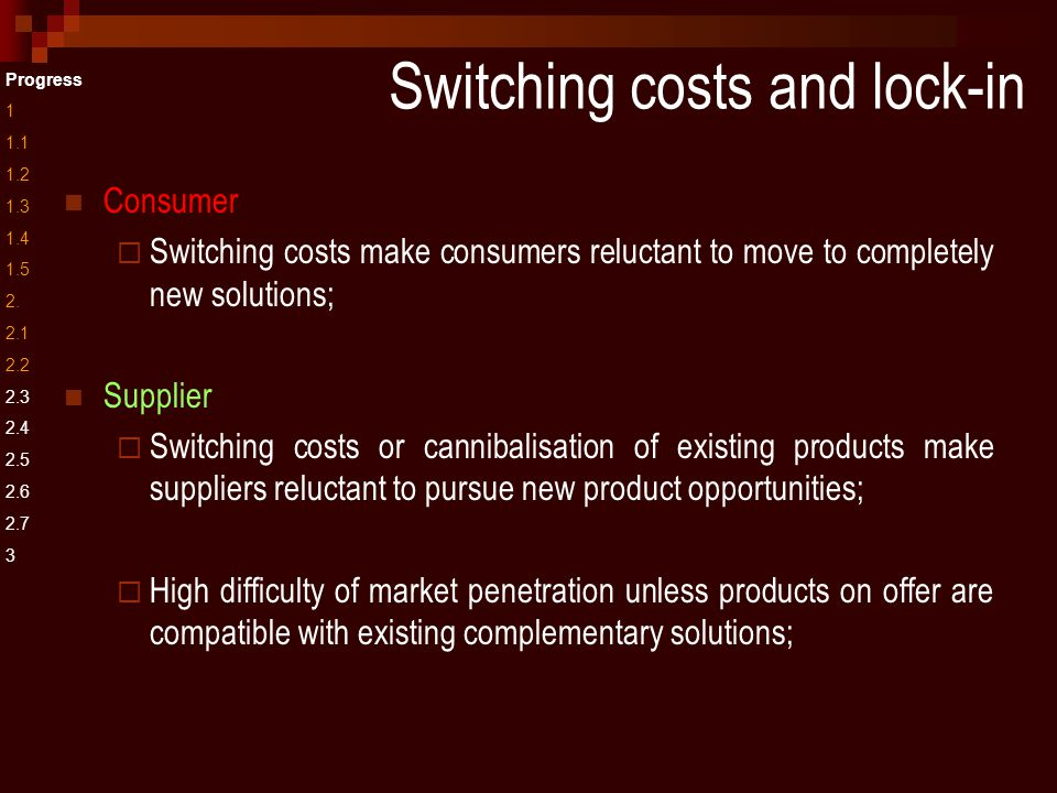 Switching costs and lock-in Progress 1 1.1 1.2 1.3 1.4 1.5 2.