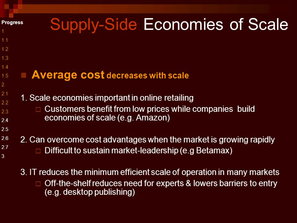 Supply-Side Economies of Scale Average cost decreases with scale 1.