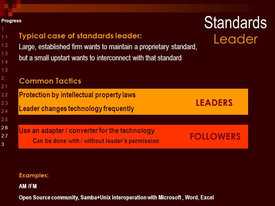 FOLLOWERS LEADERS Standards Progress 1 1.1 1.2 1.3 1.4 1.5 2.