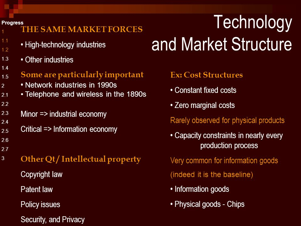 Technology and Market Structure Progress 1 1.1 1.2 1.3 1.4 1.5 2 2.1 2.2 2.3 2.4 2.5 2.6 2.7 3 THE SAME MARKET FORCES High-technology industries Other industries Some are particularly important Network industries in 1990s Telephone and wireless in the 1890s Minor => industrial economy Critical => Information economy Other Qt / Intellectual property Copyright law Patent law Policy issues Security, and Privacy Ex: Cost Structures Constant fixed costs Zero marginal costs Rarely observed for physical products Capacity constraints in nearly every production process Very common for information goods (indeed it is the baseline) Information goods Physical goods - Chips