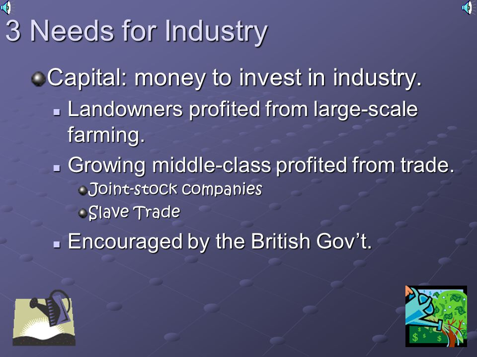 3 Needs for Industry Capital: money to invest in industry.