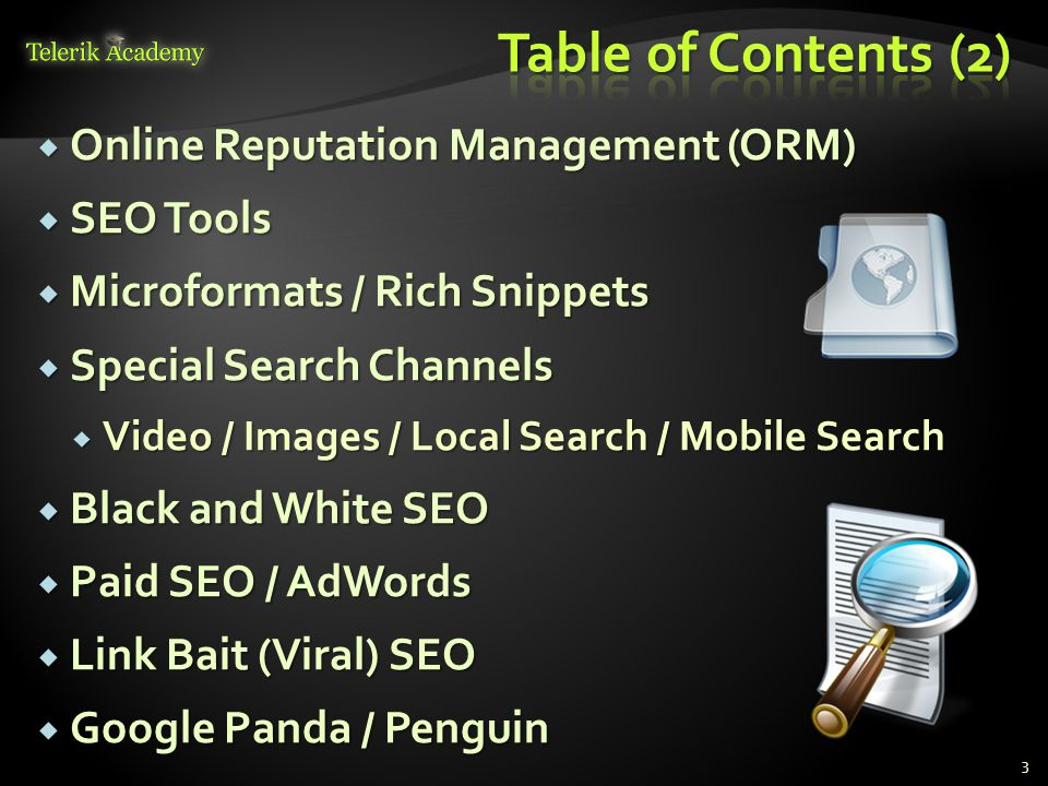  Online Reputation Management (ORM)  SEO Tools  Microformats / Rich Snippets  Special Search Channels  Video / Images / Local Search / Mobile Search  Black and White SEO  Paid SEO / AdWords  Link Bait (Viral) SEO  Google Panda / Penguin 3
