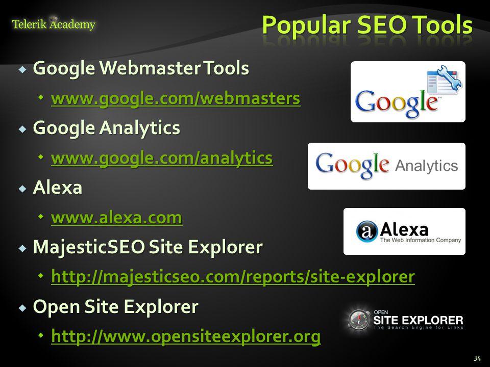  Google Webmaster Tools  www.google.com/webmasters www.google.com/webmasters  Google Analytics  www.google.com/analytics www.google.com/analytics  Alexa  www.alexa.com www.alexa.com  MajesticSEO Site Explorer  http://majesticseo.com/reports/site-explorer http://majesticseo.com/reports/site-explorer  Open Site Explorer  http://www.opensiteexplorer.org http://www.opensiteexplorer.org 34