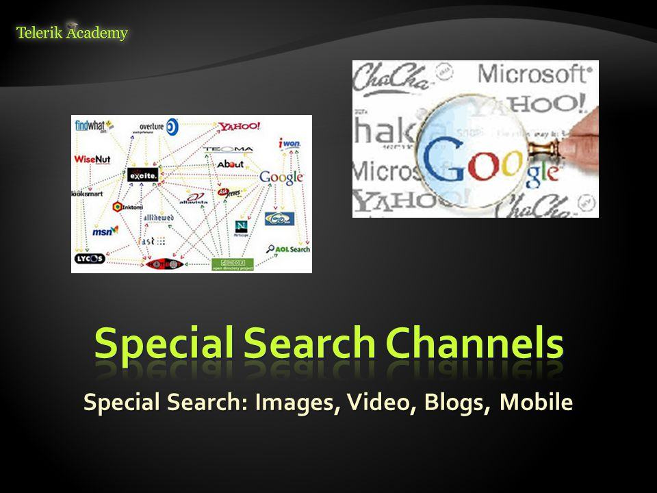Special Search: Images, Video, Blogs, Mobile