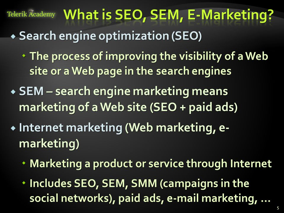  Search engine optimization (SEO)  The process of improving the visibility of a Web site or a Web page in the search engines  SEM – search engine marketing means marketing of a Web site (SEO + paid ads)  Internet marketing (Web marketing, e- marketing)  Marketing a product or service through Internet  Includes SEO, SEM, SMM (campaigns in the social networks), paid ads, e-mail marketing, … 5