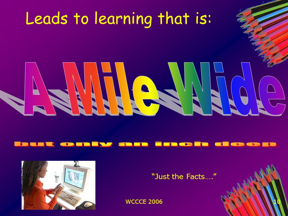 WCCCE 200610 Leads to learning that is: Just the Facts….