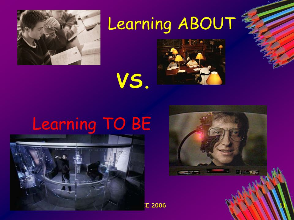 WCCCE 200611 Learning ABOUT VS. Learning TO BE
