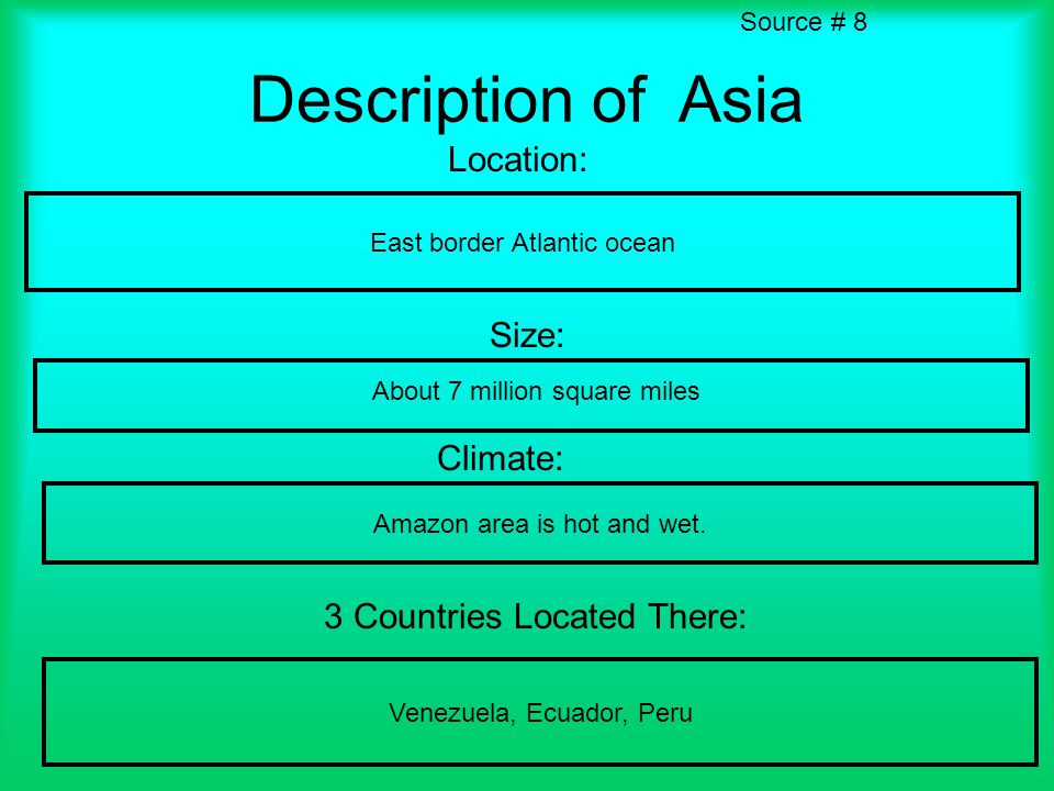 Description of Asia Location: East border Atlantic ocean Size: Climate: Amazon area is hot and wet.