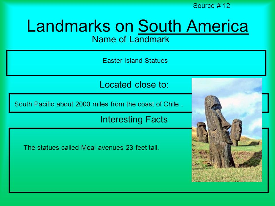 Landmarks on South America Name of Landmark Located close to: Interesting Facts Source # 12 Easter Island Statues South Pacific about 2000 miles from the coast of Chile.