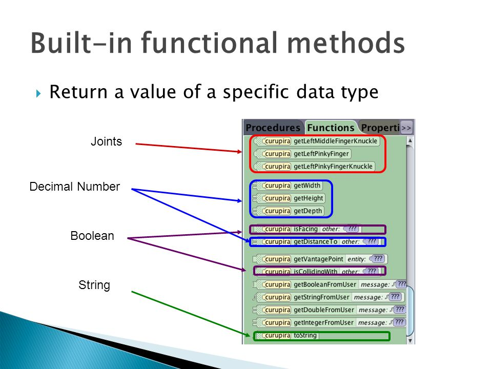  Return a value of a specific data type Boolean Decimal Number Joints String Built-in functional methods