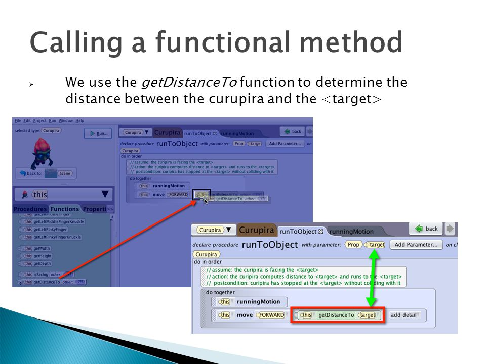 Calling a functional method  We use the getDistanceTo function to determine the distance between the curupira and the