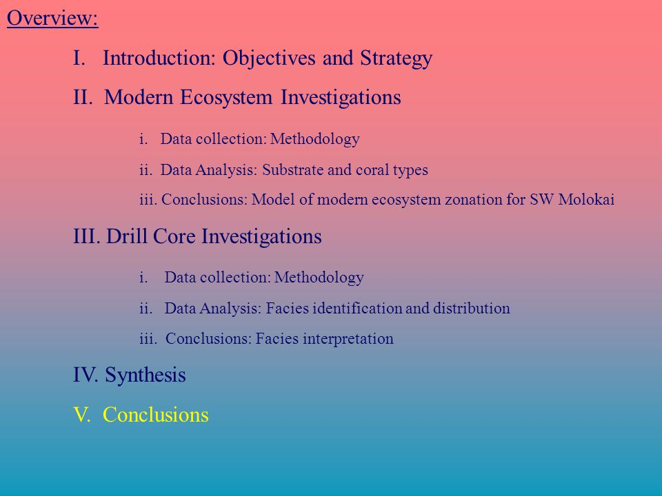 Overview: I.Introduction: Objectives and Strategy II.