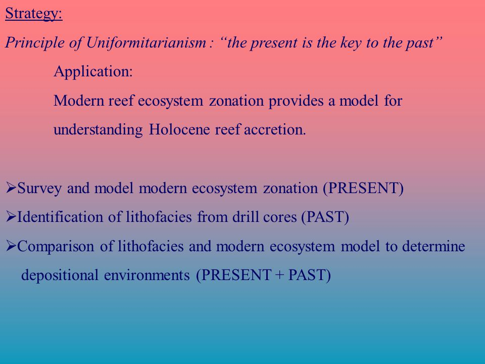 Strategy: Principle of Uniformitarianism : the present is the key to the past Application: Modern reef ecosystem zonation provides a model for understanding Holocene reef accretion.