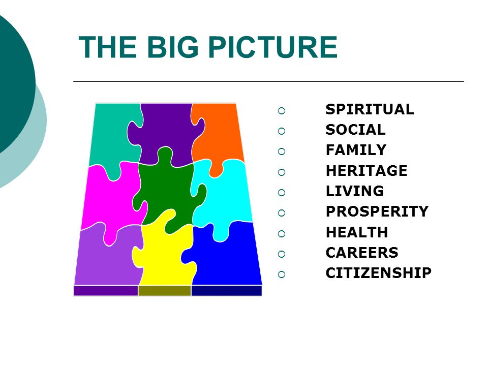 THE BIG PICTURE  SPIRITUAL  SOCIAL  FAMILY  HERITAGE  LIVING  PROSPERITY  HEALTH  CAREERS  CITIZENSHIP