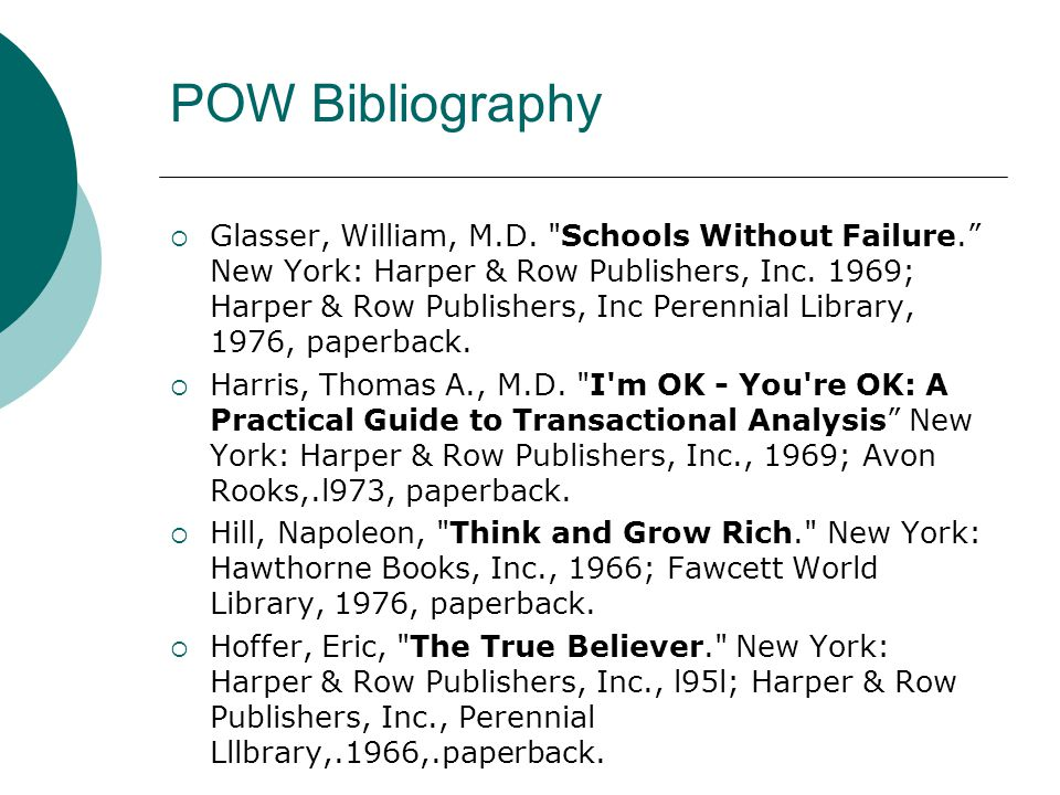 POW Bibliography  Glasser, William, M.D.