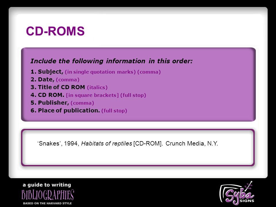 CD-ROMS Include the following information in this order: 'Snakes', 1994, Habitats of reptiles [CD-ROM].