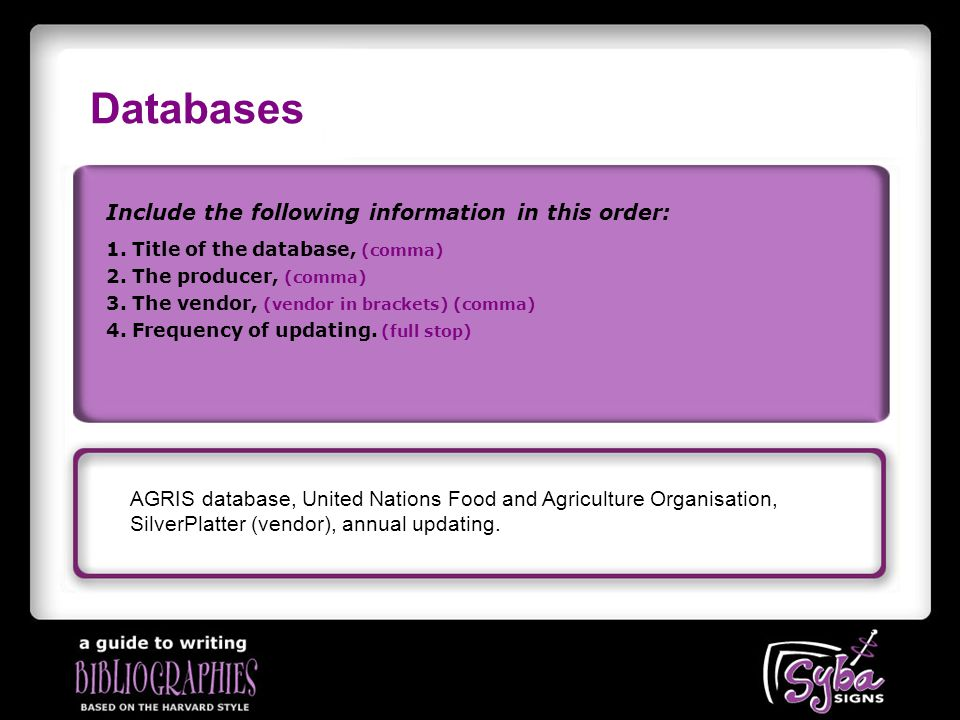 Databases Include the following information in this order: AGRIS database, United Nations Food and Agriculture Organisation, SilverPlatter (vendor), annual updating.