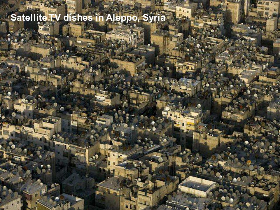 Satellite TV dishes in Aleppo, Syria