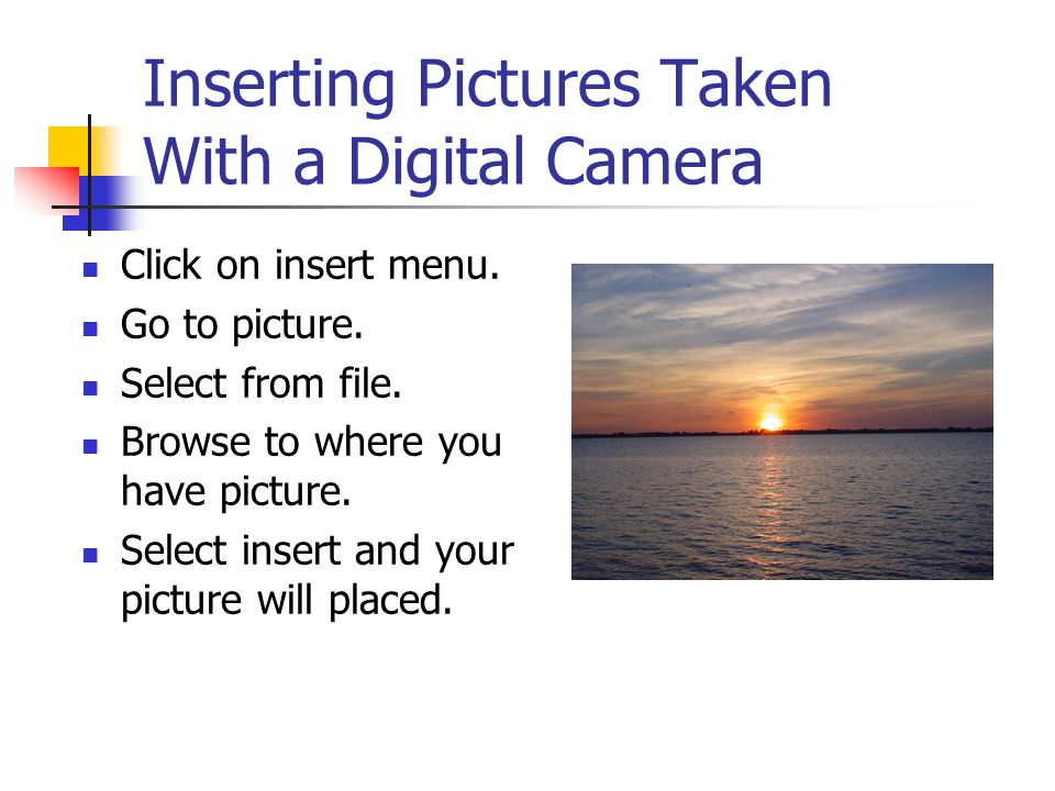 Inserting a Scanned Picture You must first scan the picture and save it.