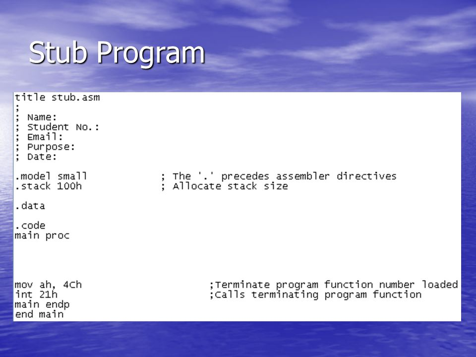 Stub Program
