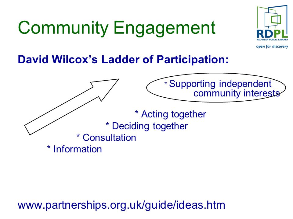 Community Engagement David Wilcox's Ladder of Participation: * Supporting independent community interests * Acting together * Deciding together * Consultation * Information www.partnerships.org.uk/guide/ideas.htm