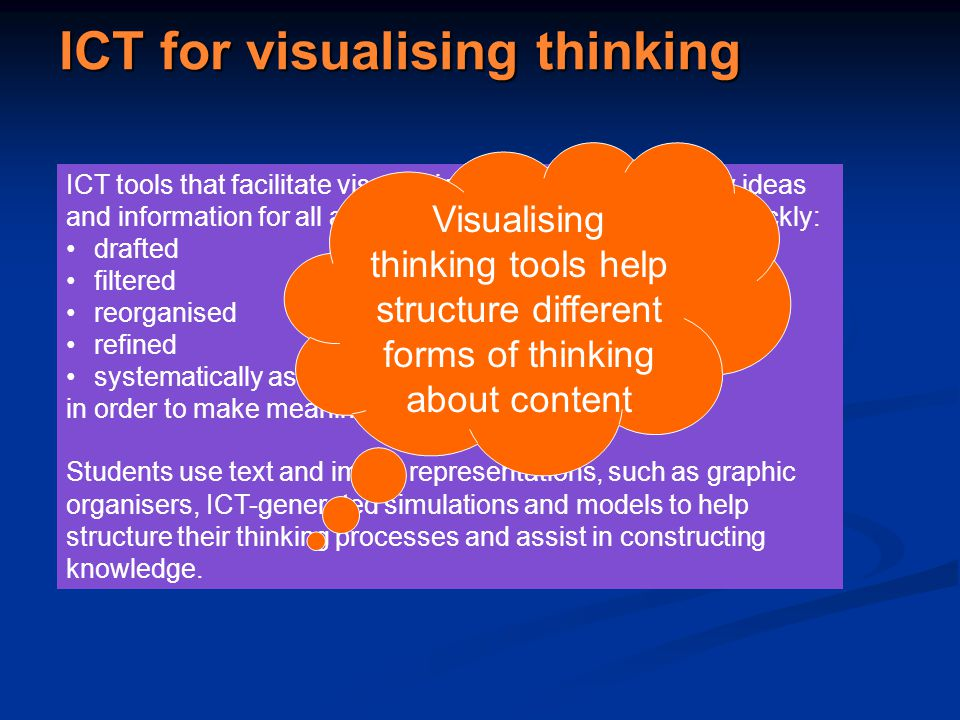 ICT for visualising thinking ICT tools that facilitate visual thinking are ones that allow ideas and information for all areas of learning to be easily and quickly: drafted filtered reorganised refined systematically assessed in order to make meaning for students.