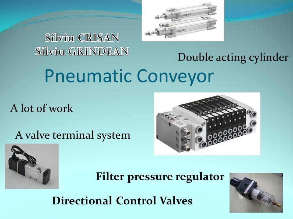 Pneumatic Conveyor A lot of work A valve terminal system Double acting cylinder Directional Control Valves Filter pressure regulator