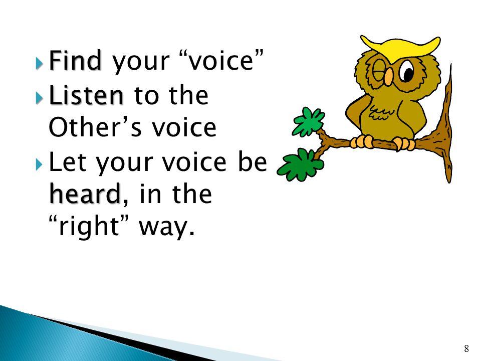  Find  Find your voice  Listen  Listen to the Other's voice heard  Let your voice be heard, in the right way.