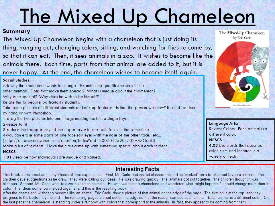 The Mixed Up Chameleon Summary The Mixed Up Chameleon begins with a chameleon that is just doing its thing, hanging out, changing colors, sitting, and watching for flies to come by, so that it can eat.