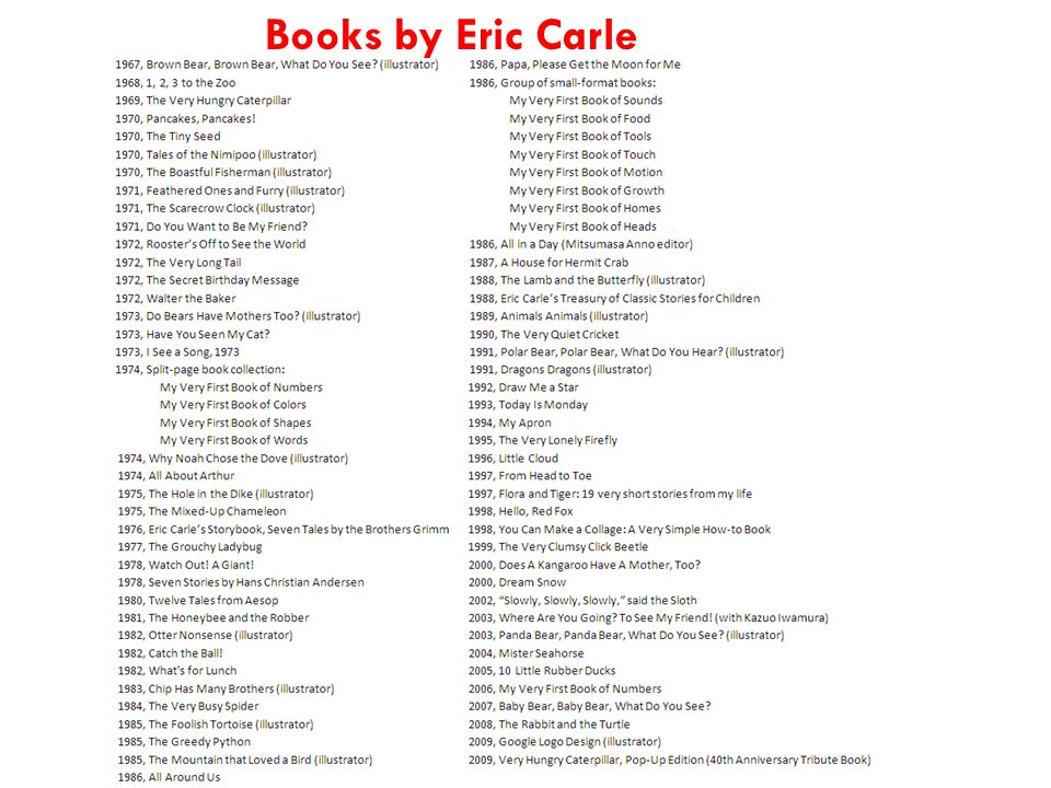 Books by Eric Carle New York Times Ten Best Illustrated Books of the Year selection, 1969, for The Very Hungry Caterpillar, and Outstanding Children s Books of the Year selection, 1974, for My Very First Library; Deutscher Jugendpreis, for 1, 2, 3 to the Zoo.