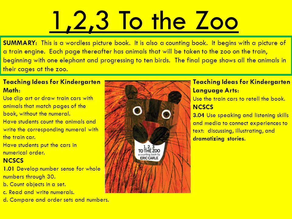 1,2,3 To the Zoo Teaching Ideas for Kindergarten Math: Teaching Ideas for Kindergarten Language Arts: Use the train cars to retell the book. NCSCS 3.0