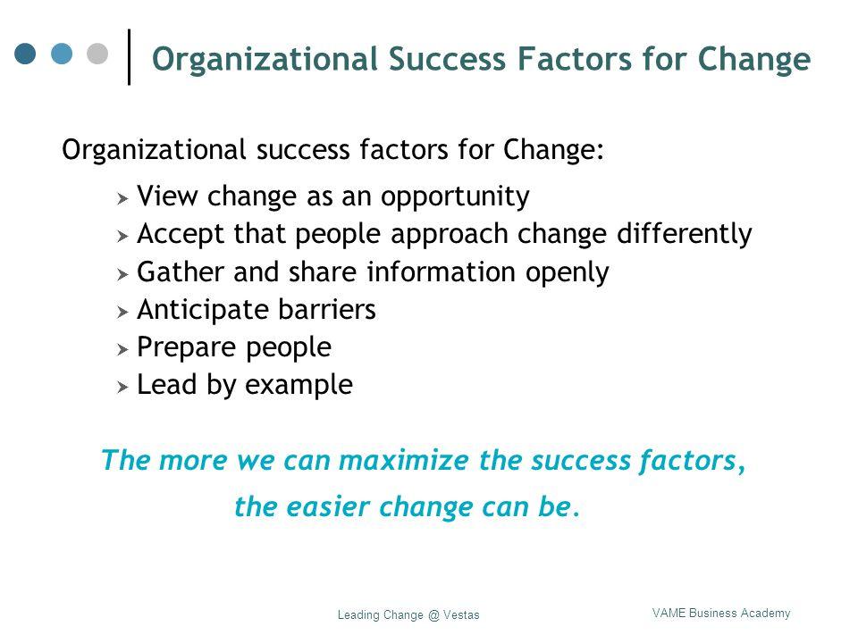 VAME Business Academy Leading Change @ Vestas Organizational Success Factors for Change Organizational success factors for Change:  View change as an