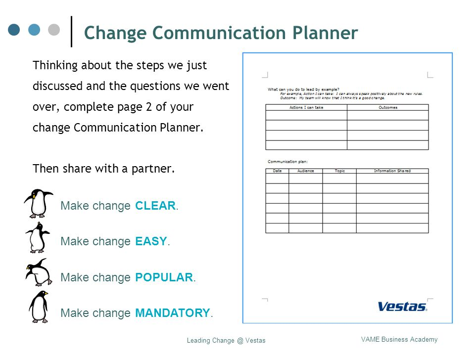 VAME Business Academy Leading Change @ Vestas Change Communication Planner Thinking about the steps we just discussed and the questions we went over,