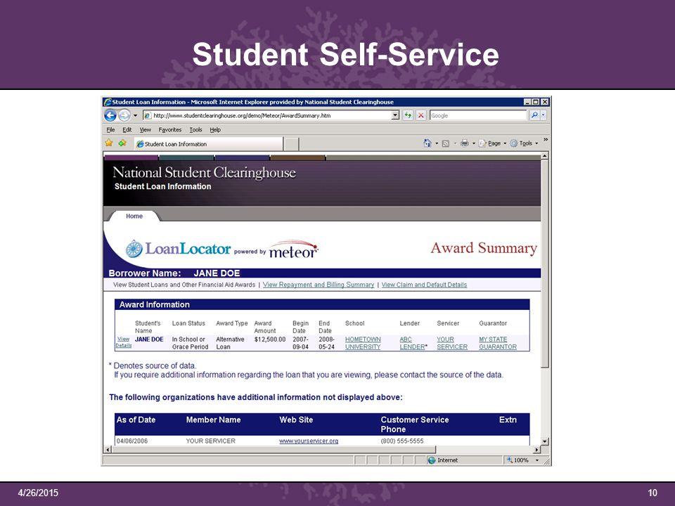 4/26/201510 Student Self-Service